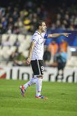 VALENCIA - 7 de noviembre: Soldado durante el partido de la Liga de campeones de la UEFA entre el Valencia CF y FC Bate Bo