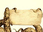 Tentáculos de um monstro, segurando uma placa de madeira. Ilustração em estilo retro