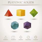 stock photo of octahedron  - Colorful set of geometric shapes - JPG