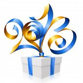 Vector blue and gold ribbon in the shape of 2013 and gift box. Symbol of New Year