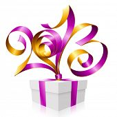 Vector purple and gold ribbon in the shape of 2013 and gift box. Symbol of New Year