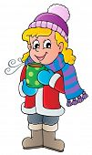 Winter person cartoon image 1 - vector illustration.