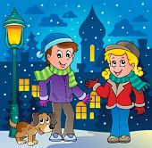 Winter person cartoon image 3 - vector illustration.