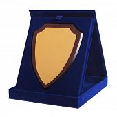 shield shaped trophy in a blue award box on white background