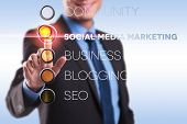 business man choosing for social media marketing