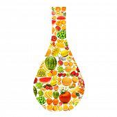 Silhoette made from various fruits and vegetables