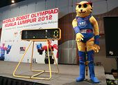 SUBANG JAYA - NOVEMBER 10: The event's mascot checks in on stage at the World Robot Olympaid competi