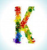 Color paint splashes. Gradient vector font. Letter K
