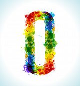 Color paint splashes. Gradient vector font. Letter O