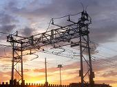 Railway Power Line At Sunset