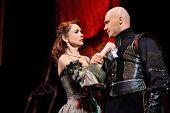 MOSCOW - FEBRUARY 3: Actress Olga Vorozhtsova and actor Evgeniy Aksenov in musical
