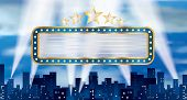 picture of marquee  - vector horizontal blue blank billboard over the city - JPG