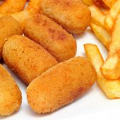 french fries and spanish croquettes and calamares a la romana