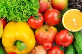 picture of food truck  - fruits and vegetables background - JPG