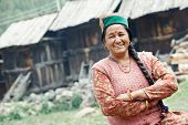 stock photo of himachal  - India authentic smiling woman  - JPG