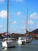 Boats in Gustavia Harbor at St. Barts, French West Indies