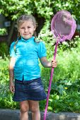Little Caucasian Girl Portrait With Butterfly Net