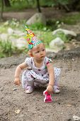 Adorable Birthday Girl Child Year-old  In Park At Summer, Almaty, Kazakhstan