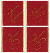 Collection of textile monograms design on a ribbon. AA, AC, AD, AE