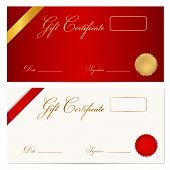 Voucher, Gift certificate, Coupon template with ribbon, seal wax
