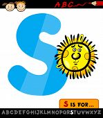 Letter S With Sun Cartoon Illustration