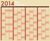 2014 Calendar. Year Planner. Week Starts On Sunday