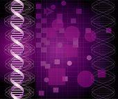 de fundo Vector com gráfico de DNA abstrato em cores roxos