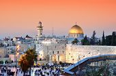 picture of aqsa  - Skyline of the Old City at he Western Wall and Temple Mount in Jerusalem - JPG