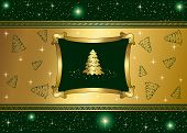 Green background with stars and Gold Christmas tree