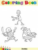 Coloring Book Page Zombie Character
