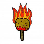 retro cartoon flaming toffee apple