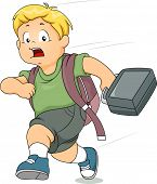 foto of running-late  - Illustration of a Kid Boy Running Late for School - JPG