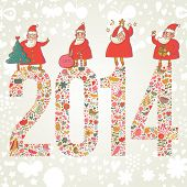 2014 concept New Year background. 2014 made of bright flowers with funny Santa and gifts on top in v