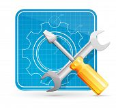 Vector wrench and screwdriver on blueprint square icon