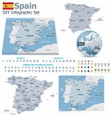 Kingdom of Spain maps with markers
