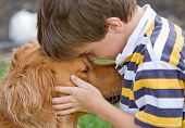 image of little boy  - Little Boy Being Affectionate with His Dog - JPG
