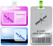 Spaceship. Vector id cards.