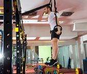 picture of dipping  - Crossfit fitness dip ring man dipping exercise workout at gym - JPG