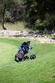 Golf Bag And Clubs On A Golf Course