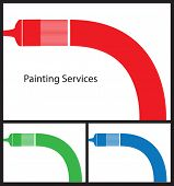 Business card template for painters and decorators. Card shape 3.2 by 2.5.