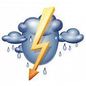 Icon weather. Storm clouds and lightning. Vector illustration thunderstorms isolated on a white background