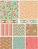 Rose Floral Vector Patterns.  Use as pattern fills to create stunning items for art and craft projec