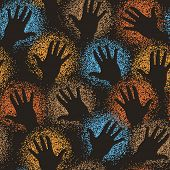 Editable vector seamless tile of cave art paint-sprayed hands