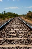 stock photo of darwin  - The Ghan railway in the Outback near Darwin - JPG