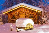 image of chalet  - chalet at night in winter at christmas with snow - JPG