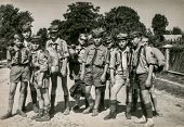 PLOCICZNO, POLAND, CIRCA 1957 - vintage photo of group of scouts during a summer camp, Plociczno, Po