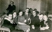 LODZ, POLAND CIRCA 1948- vintage photo of group of family and friends during a wedding party, Lodz, Poland circa 1948