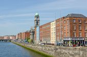 DUBLIN, IRELAND - JUNE 7: Panoramic view of Bachelors Walk and River Liffey, Dublin, Ireland on June 7, 2013