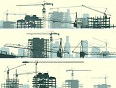 image of derrick  - Vector horizontal banner of construction site with cranes and skyscraper under construction - JPG