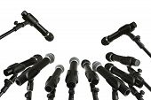 stock photo of microphone  - Press Conference Microphones Isolated On White Background With Copy Space - JPG